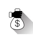 hand holding money bag with dollar sign silhouette vector image
