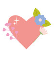 heart love with flower decoration pop art style vector image vector image