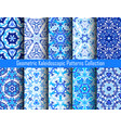 indigo blue kaleidoscopic patterns set vector image vector image
