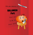invitation design for halloween party with pumpkin vector image vector image
