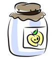 jar apple juice on white background vector image vector image