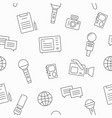 journalism seamless pattern with line icons vector image