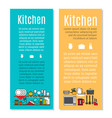 kitchen flyers in cartoon style vector image vector image