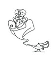 lamp aladdin with gin the magic lamp vector image