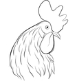 line art of rooster head vector image vector image