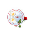 love food idea for 8 march vector image vector image