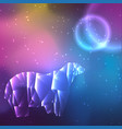 low poly crystal polar bear space background with vector image