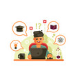 man studying with laptop online education concept vector image