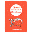 merry country christmas card with sheep and santa vector image vector image