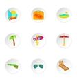 Miami icons set cartoon style vector image vector image