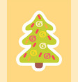 new year tree decorated by abstract doodle sticker vector image