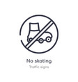no skating outline icon isolated line from vector image vector image