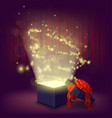 open gift box with glowing inside vector image vector image