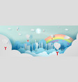 paper art balloon gift of panorama top world vector image vector image