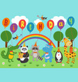poster funny animals keep balloons birthday vector image vector image