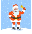 Santa Claus ringing jingle bell cartoon character vector image