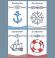 sea adventure set of four bright colorful banners vector image