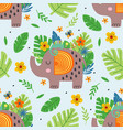 seamless pattern with cute elephant and chameleon vector image vector image