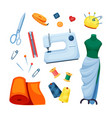 sewing supplies set machine white scissors vector image vector image