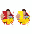 stickers with referee holding cards vector image