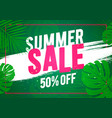summer sale offer banner beach and jungle theme vector image