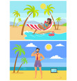 suntanned woman and man in trunk and tie on beach vector image