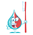 Toothpaste Character Holding A Toothbrush vector image