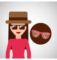 toursit female hat sunglasses elegant vector image vector image
