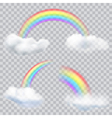 Transparent rainbows with clouds vector image