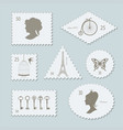 vintage postage stamps different shapes set vector image vector image