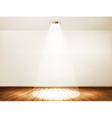 Wall with a spotlight and wooden floor Showroom vector image vector image