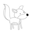 wolf cartoon in monochrome silhouette on white vector image