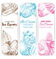 ice cream sketch banner set for food label design vector image