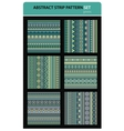 Abstract strip pattern set Greens colors vector image