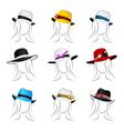 female summer hats vector image
