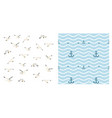 anchor seagulls and waves vector image vector image
