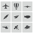 black airplane icons set vector image vector image