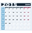Calendar 2015 June design template vector image