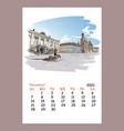 calendar sheet november month 2021 year dresden vector image