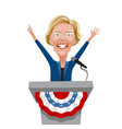 caricature elizabeth warren giving a speech vector image