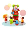 cartoon clown making balloons toys for children vector image vector image