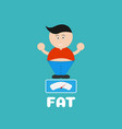 cartoon fat boy cute with weight scale vector image vector image