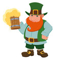 cartoon happy leprechaun holding a pint of fresh vector image vector image