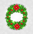Christmas decoration with holly berry pine and vector image vector image