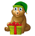 Christmas theme with bear and present box vector image vector image