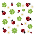 clover leaf with ladybird seamless pattern vector image