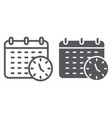 deadline line and glyph icon organizer and plan vector image