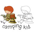 doodle camping kid character vector image