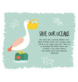 eco poster with pelican stop plastic pollution vector image vector image