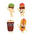 fast food characters - set mascot vector image